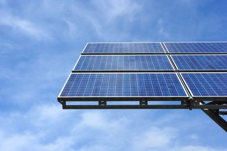 solar panel against sky Stock Photo