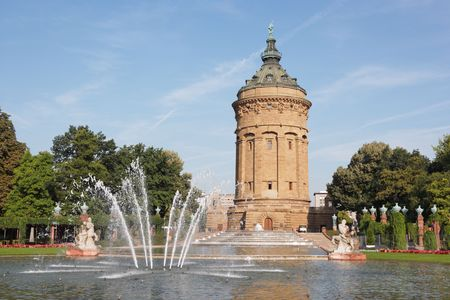 local landmark Wasserturm in Mannheim, Germany Stock Photo