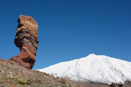Los Roques and snowcapped volcano Mt. Teide, Tenerife