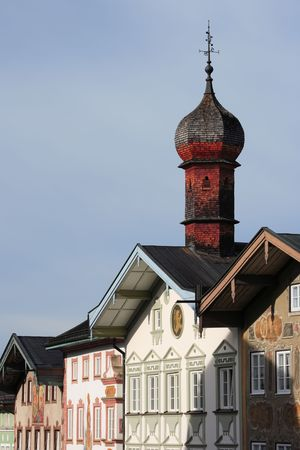 bavarian wooden steeple and facades, Bad T�lz, Germany Stock Photo - 5656590