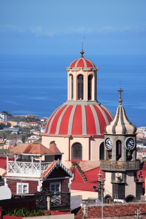 local landmark: cityscape, church and sea, La Orotava, Tenerife, Canary Islands