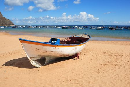 wooden rowboat on beach at Playa De La Teristias, Tenerife