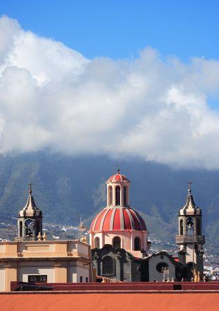 church, cloudscape and blue sky, La Orotava, Tenerife., Canary Islands