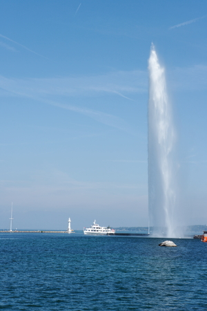Geneva, Switzerland, jet d eau fountain and passenger ship