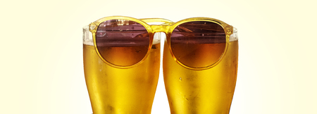 Beer in glasses, isolated image on white background. alcohol drink