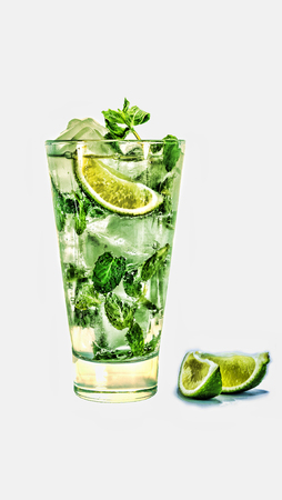 Fresh mojito cocktail isolated on white background. close up