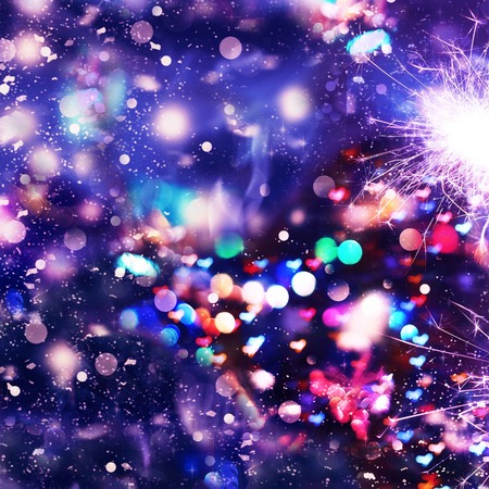 Festive Christmas background, Valentines Day. Bengal lights, sparkles. Lights in the form of hearts. Bokeh background, colorful lights, fireworks, salute. Abstract background, bokeh, Stock Photo