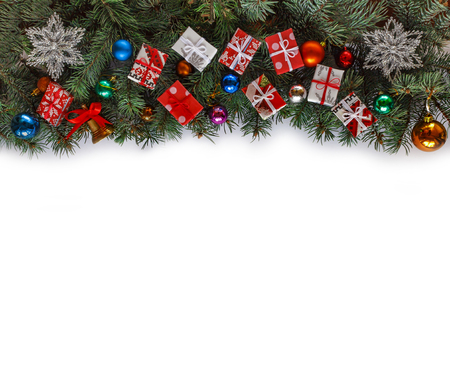 Christmas frame with Christmas branches and Christmas decor isolated on white. free text space. top veiw