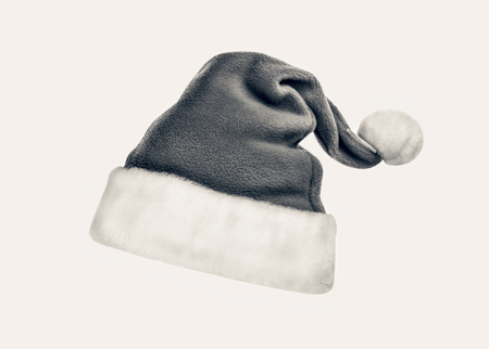 Santa Claus hat isolated on white background. black and white Stock Photo