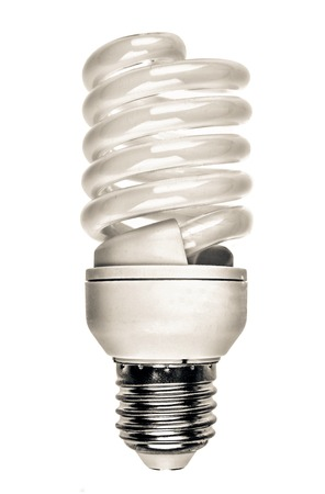 Energy saving fluorescent light bulb on white bakground. close up