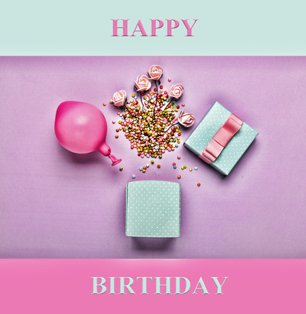 Happy Birthday.Minimalism. Gift blue box, balloon and decorative colored elements on a lilac background. A mock-up of a greeting card.