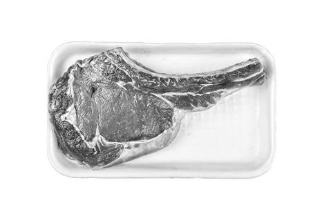 beef steak, T-bone, Raw, supermarket, sale, share, shop box, ba Stock Photo