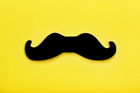 Fathers Day Minimalism Black Mans Mustache On A Yellow Paper