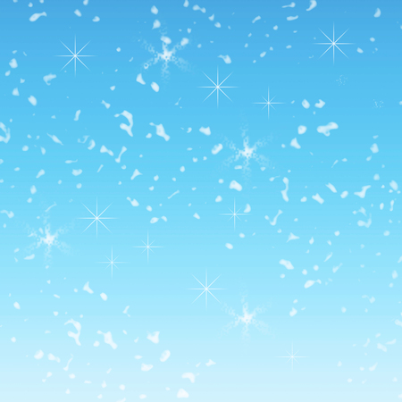beautiful falling Christmas snow on a blue background. Abstraction. Design. Blue background. Sequins, snowflakes, stars Standard-Bild
