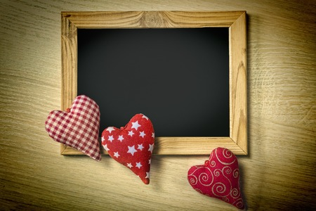 Valentine's Day. Mothers Day, March 8. Empty frame and hearts. Copy space, flat lay.Father's day 2 June.