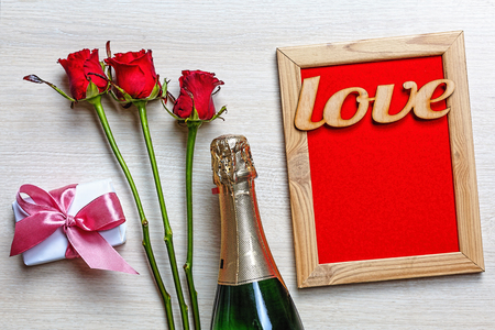 Valentine's Day, Birthday, Wedding. Champagne, roses and hearts. Festive composition. Mother's Day, Father's Day Banco de Imagens