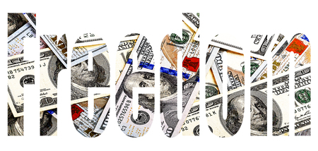 Freedom, dollars, finance Font with transparency dollar bills