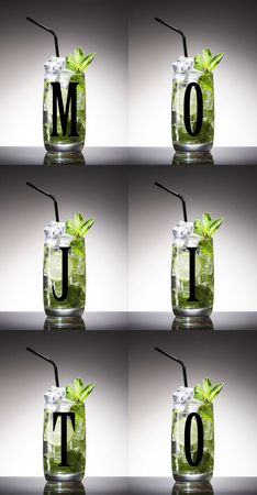 Art background, 7 Mojito cocktail. Cocktail with lime and ice. Rum, soda water. Alcohol.