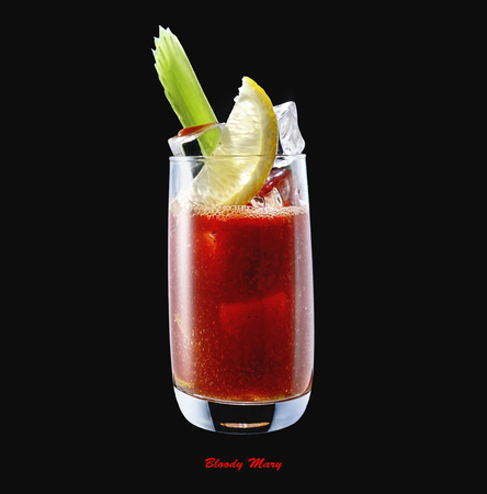 Cocktail Bloody Mary in a glass isolated on a black background, a cocktail of vodka and tomato juice with celery, lemon and spices