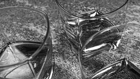 Three glasses of brandy in the bar, Black and white