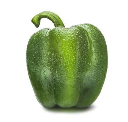 Green paprika isolated on a white background. Green pepper.