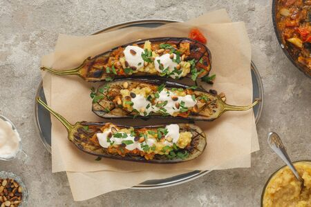 Vegetarian baked eggplant recipe, cooked at home