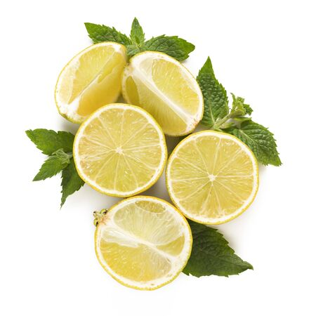 Composition of juicy lemons and mint leaves. Ingredients for cocktails, drinks and tea.