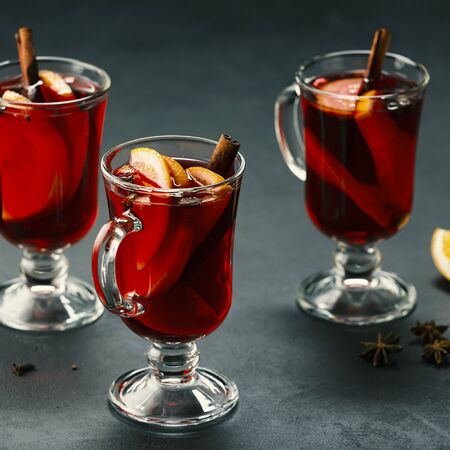 Mulled wine in glasses. Christmas drink