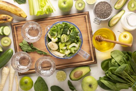 Cooking Green Health Drink. Green organic food. Stock Photo
