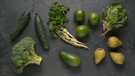 Green food. Green vegetables and fruits are at the heart of a balanced diet.