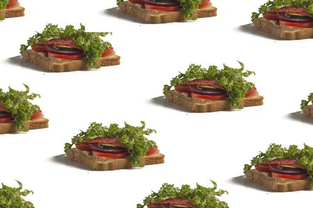 Sandwich print. Grocery pattern. White background, blank design.