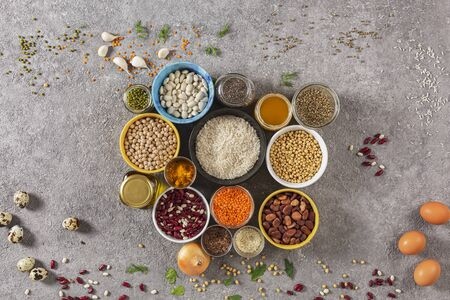 Diet food, cannabis, quinoa, legumes, rice, chia sources of protein and vitamins in the diet, top view, copy space