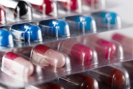 Pharmaceutical Capsules, Doctor prescribed treatment, pharmacy theme, medicine. Antipyretic Headache Medication