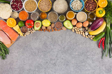 Balanced nutrition, assortment of eco products, sources of nutrients Archivio Fotografico