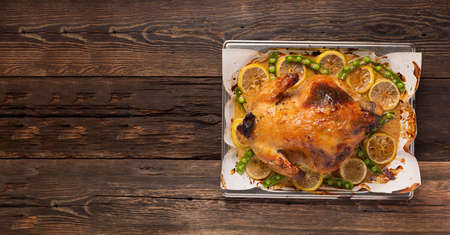 Christmas or Thanksgiving duck baked with spices in the oven.top view