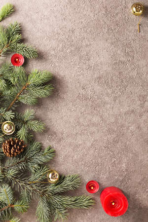 Christmas background with Christmas tree decorated colorful Christmas decorations