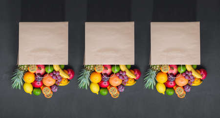 Concept grocery shopping, Paper bag fruits, sale. Fresh Eco Products, Healthy Products