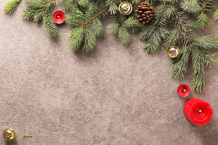 Christmas background with Christmas tree decorated colorful Christmas decorations Archivio Fotografico - 155883777