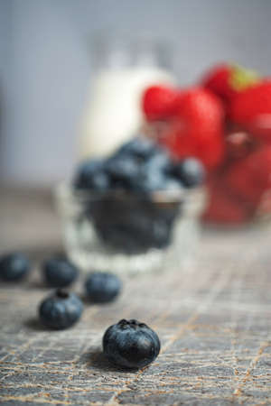 Strawberries and blueberries for dessert close up Archivio Fotografico