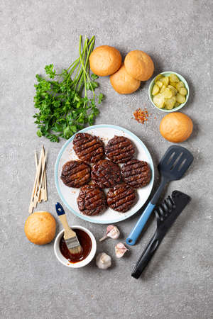 Ingredients for Cooking Meat Burger close up on stone background Archivio Fotografico - 156169233
