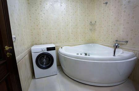 Modern bathroom with hot tub bath, close up