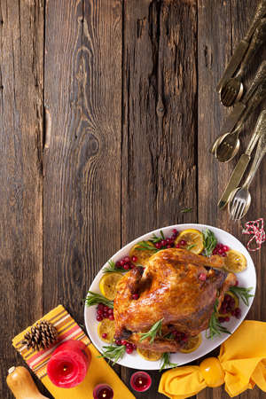Thanksgiving chicken on wooden table gala dinner, top view Archivio Fotografico