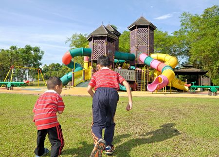Kids is playing on playground