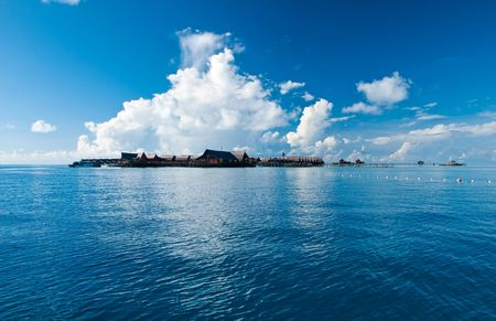 A view of tropical resort of Kapalai in the middle of sea celebes ocean