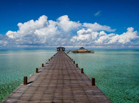 A man-made walkway of Kapalai island exotic tropical resort