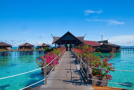 A man-made Kapalai island exotic tropical resort in the middle of ocean photo