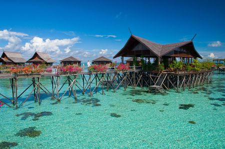 A man-made Kapalai island exotic tropical resort in the middle of ocean