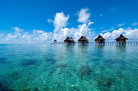 chalets: A man-made Kapalai island exotic tropical resort in the middle of ocean