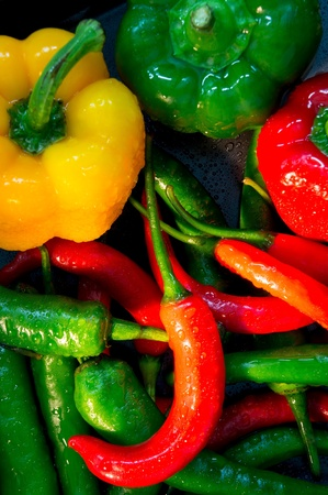 intense flavor: Hot pepper in a market