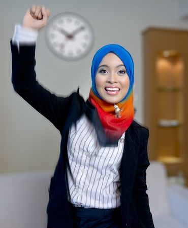 franchises: Successful young and beautiful Muslim businesswoman